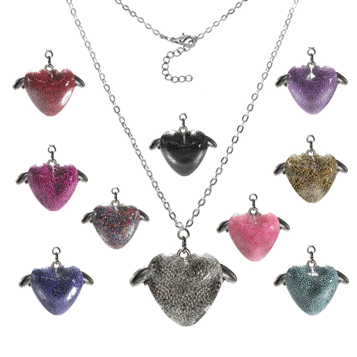 Min. Order 10usd Micro-beads Necklace, Grass Heart Wing Necklace, 12pcs One Lot, Free Shipping(China (Mainland))