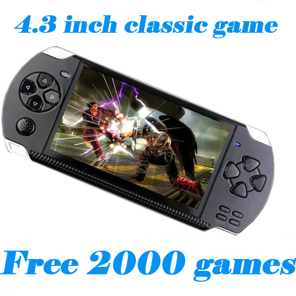 Free Shipping 8GB Video Game Console 4.3 inch MP4 MP5 Players Handheld Game Player free 2000+games ebook/FM/1.3 MP Camera(China (Mainland))