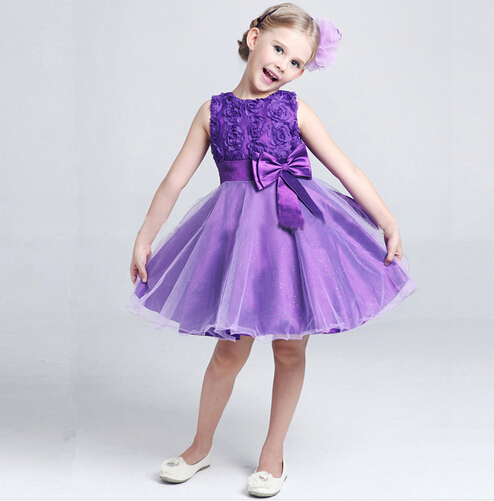 BD233 2016 New fashion summer dress girl with bow Beautiful Princess Dress Sleeveless baby clothes elegant dresses for girls(China (Mainland))