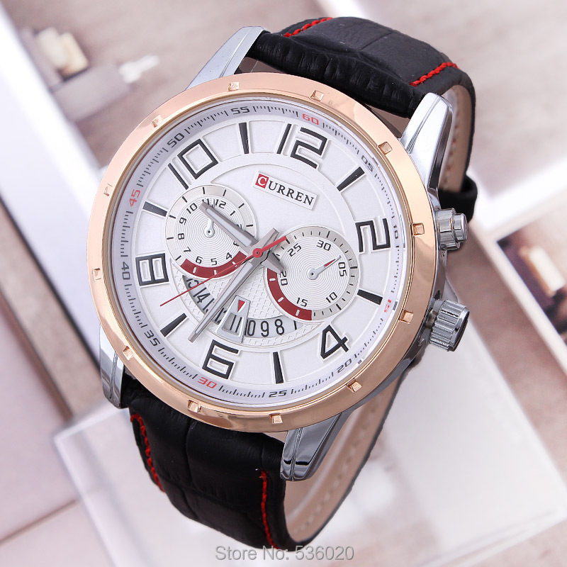 Top Sale! Men Watches Original Curren Brand Elegant Black Big DIal Quartz Wrist watch Gift Dress Men's Leather Strap - ShenZhen OKE Trade Co.,LTD store