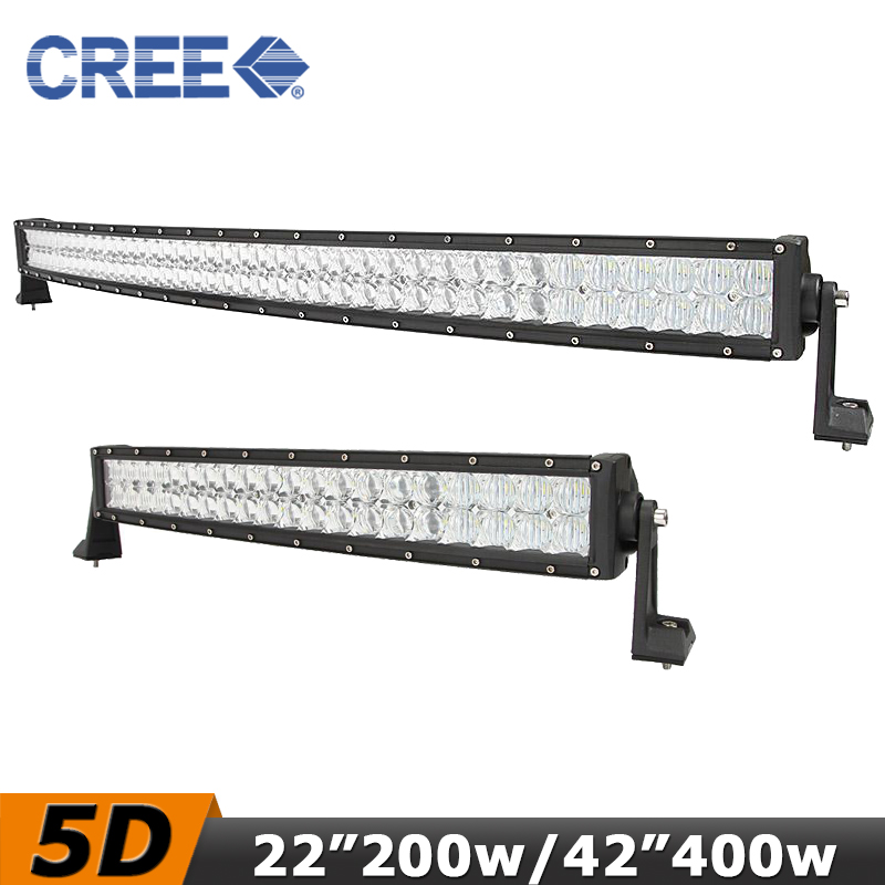 "CREE 5D Curved LED Light Bar 42"" 400W / 22"" 200w LED Driving Work Light 12V/24V Truck ATV SUV 4WD Pickup 4x4 Led Bar Offroad(China (Mainland))"