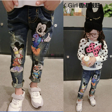 2016 Spring Baby Girls Cartoon Mouse Jeans 2-7Yrs Children Pants Trousers Fashion Children Clothing Jeans Girls Kids Jeans(China (Mainland))