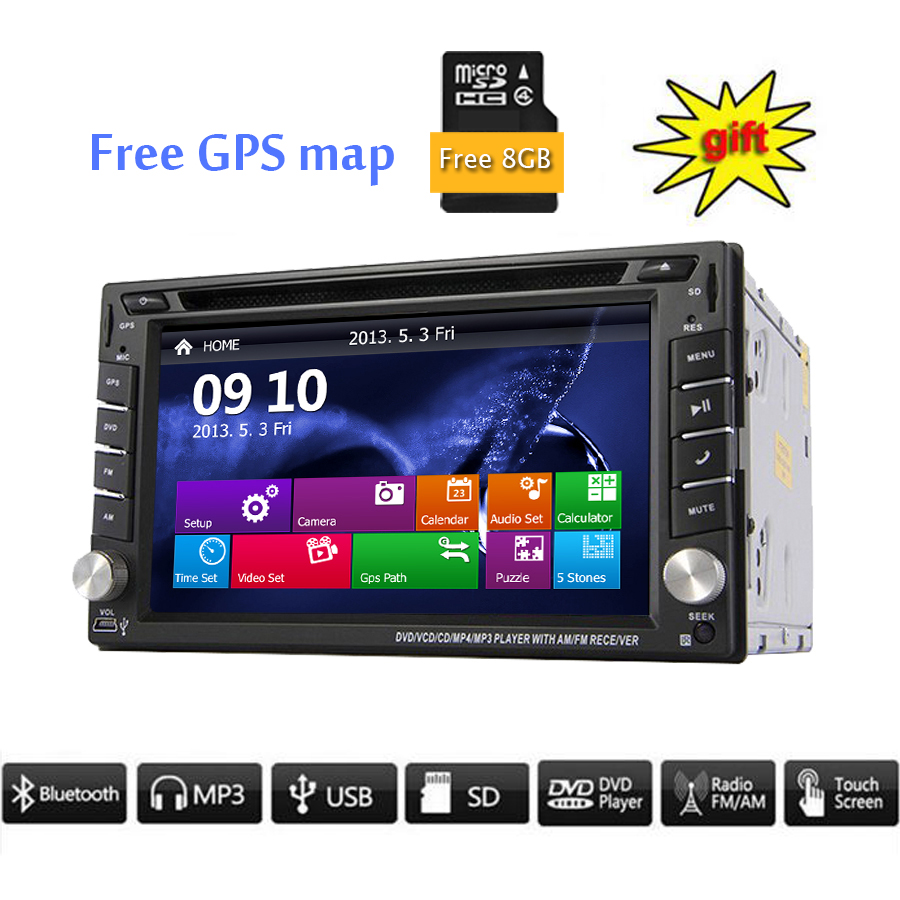 Car Electronic In Dash 2 din Car DVD Player GPS Navigation 6.2 inch Universal Car Radio Bluetooth Stereo Video SWC With Free Map(China (Mainland))