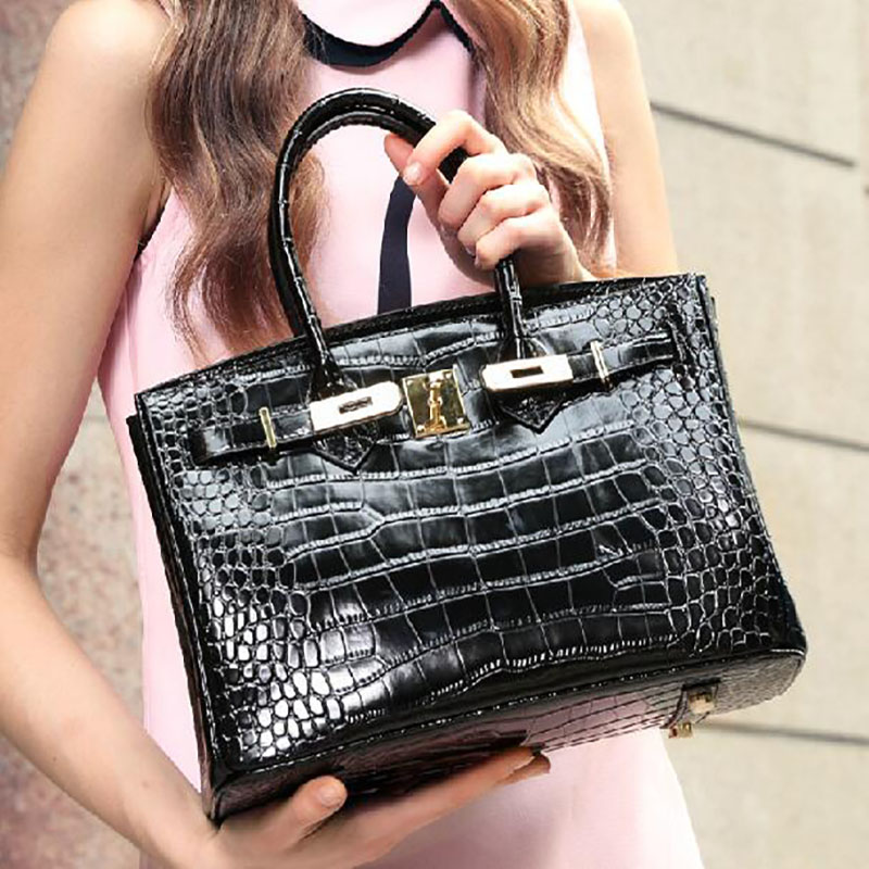 Genuine Leather Crocodile Handbag Woman Bags 2015 Bag Handbag Fashion Handbags Vintage Bag Sac a Main 35CM(China (Mainland))