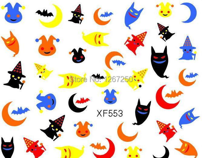 3D Halloween Bat Night Sticker Decal XF553 Holiday Nail Art Decoration(China (Mainland))