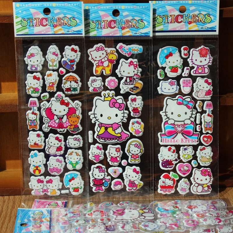 10Pcs / lot Bubble Stickers 3D Cartoon Hello Kitty Animals Cat Classic Toys Scrapbook For Kids Children Gift Reward Sticker