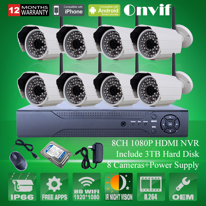 Система видеонаблюдения ANRAN Onvif 8/h.264 NVR CCTV 3 HDD 1080P COMS 25fps HD WIFI IP AR-8CH408GW-WIFI система видеонаблюдения anran security 2 hdd 8 nvr onvif 1080p hd h 264 ir ip 8ch hk02w ip2 0 4