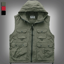 Men Women Photography Hooded Vest Jacket Detachable Cap Waistcoat Work Clothes Red/Black WM0015 Asian/Tag Size M-2XL(China (Mainland))