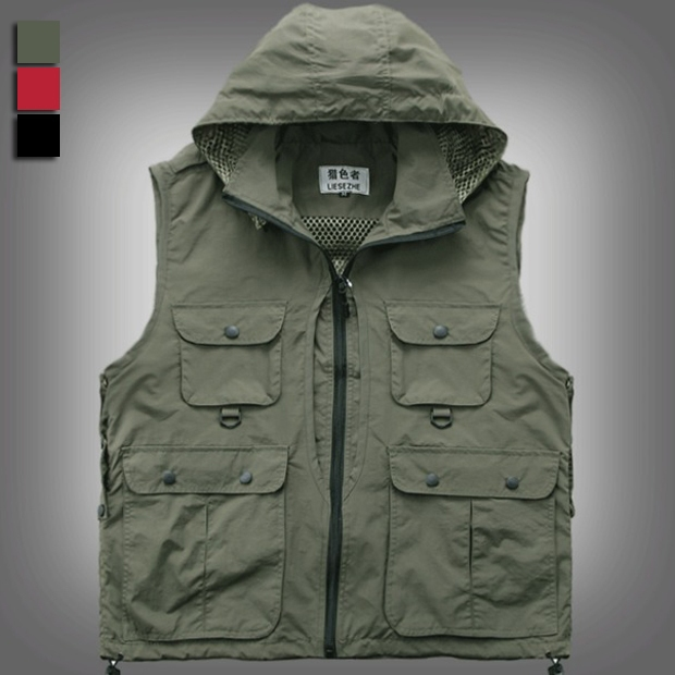 Men women photography hooded vest jacket detachable cap for Women s fishing vest