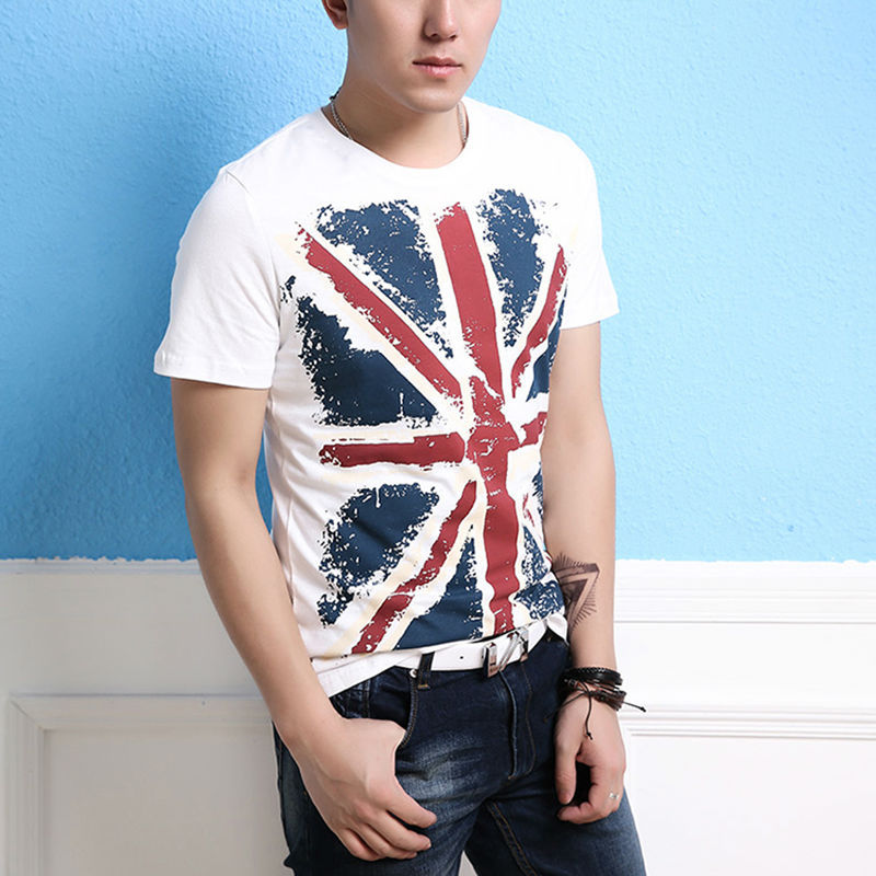free shipping style uk flag print t shirt