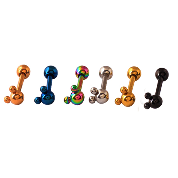 Wholesale 24pcs/lot 316L Surgical Steel Mickey Ear Cartilage Tragus For Women Screw Ball Barbell 16g Helix Cartilage Piercing(China (Mainland))