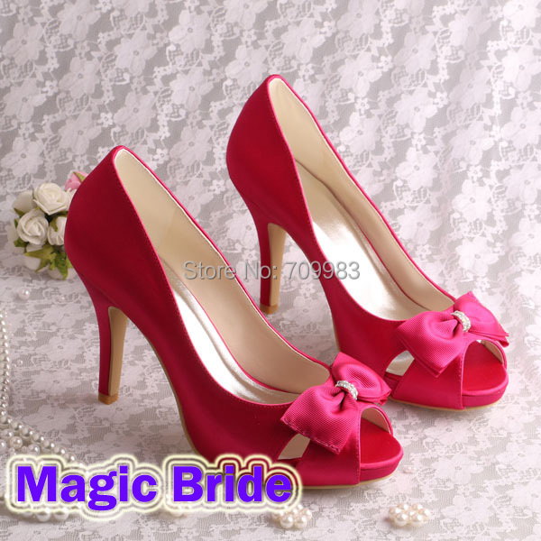 Brand Name Women Hot Pink Heels 2015 Wedding Shoes Peep Toe Bow Pumps Size 6<br><br>Aliexpress
