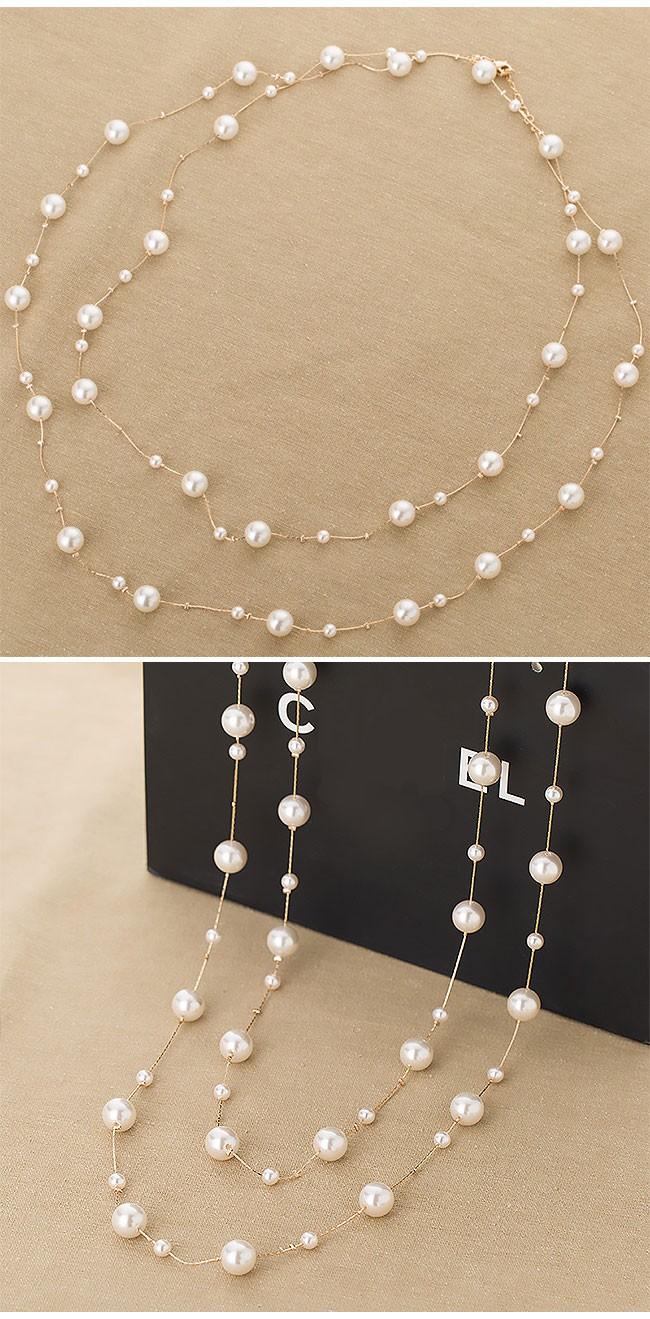 HTB1gg mLVXXXXctXVXXq6xXFXXXV - Simple simulated pearls women long necklace gold color chain strand beads ladies sweater necklaces fashion female neck jewelry