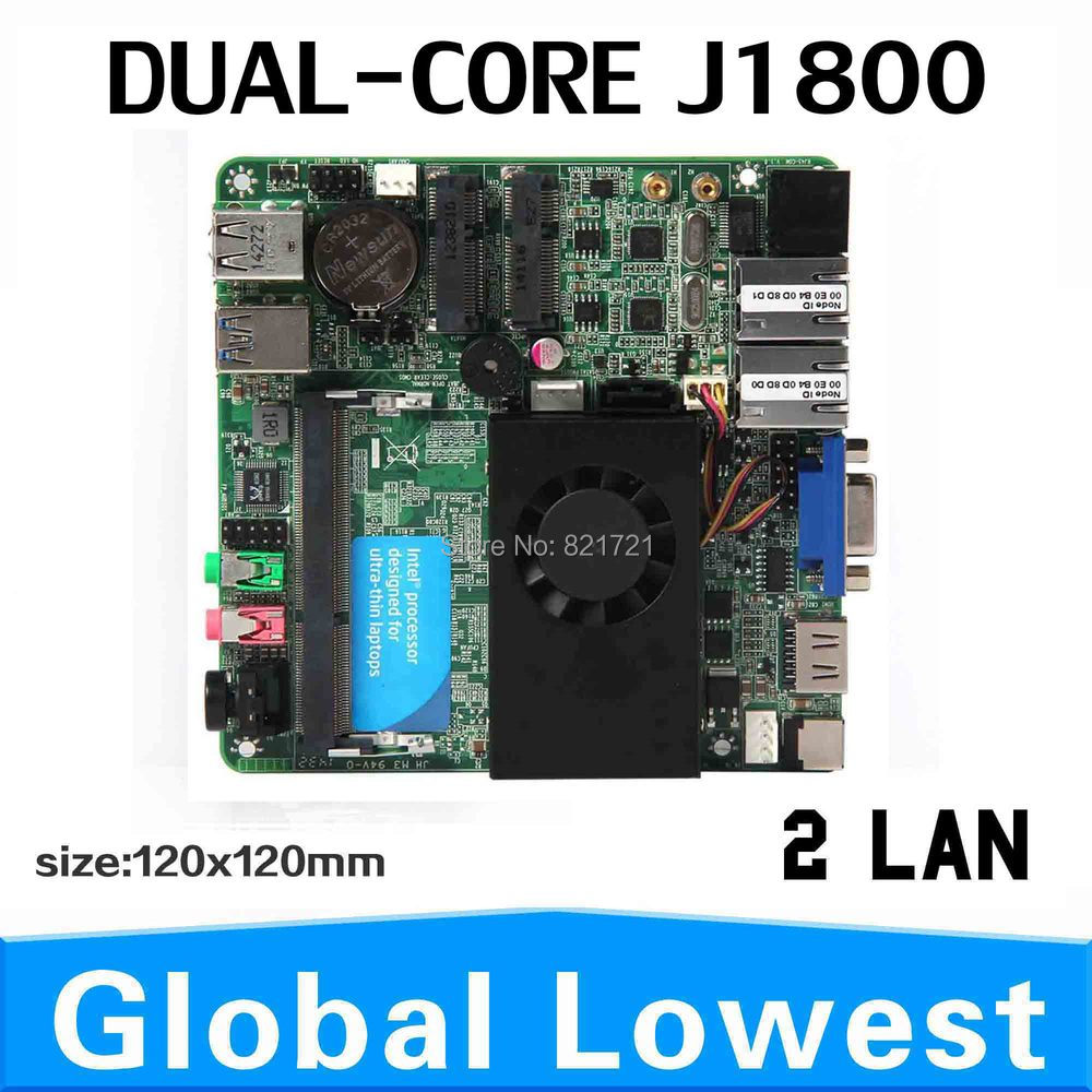 XCY J1800 two lan ports embedded Motherboard mini mother board Onboard NIC Gigabit Lan,Or WIFI network motherboards(China (Mainland))