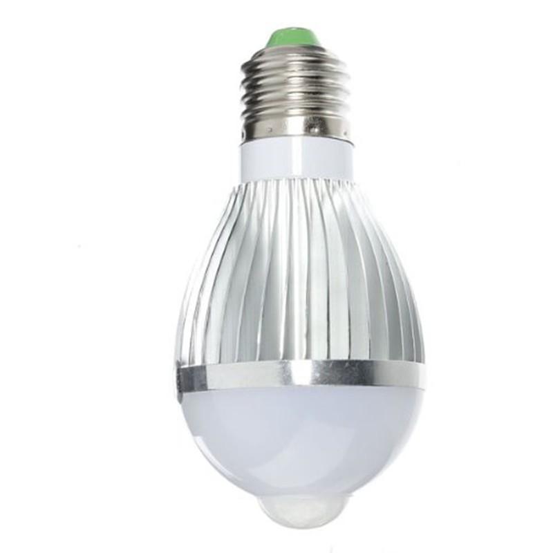1X E27 5W PIR Motion Sensor Detection LED White Light Lamp Bulb 5730SMD AC85-265V Pure White LED Light Lamp Bulbs for Bedroom(China (Mainland))
