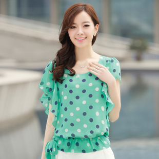2013 women's batwing sleeve polka dot chiffon shirt o-neck stripe plus size chiffon short-sleeve top
