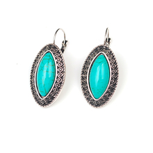 Fashion Jewerly Vintage Pattern Edge Design Tibetan Silver Earrings Oval Turquoise Women Gift For Valentine's Day High Quality(China (Mainland))
