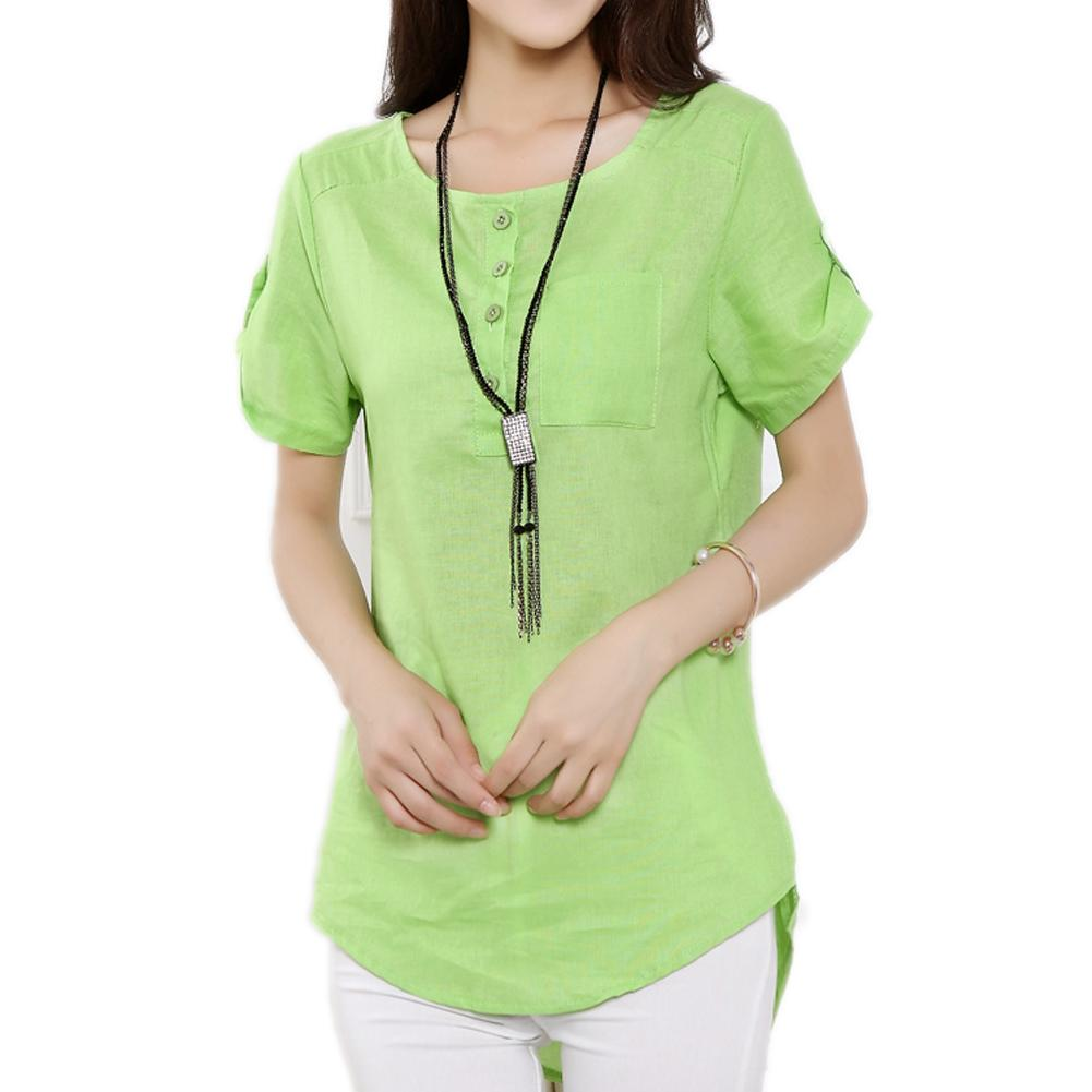 2015 New Summer Blusa Loose Casual Women's Shirts Linen Cotton O-Neck Short Sleeve Blouses Tops M-2XL Plus Size White Green 9203(China (Mainland))