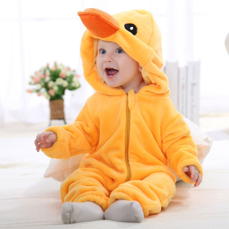 2016 baby boy clothes baby girl cloths flannel jumpsuits Ali panda duck animal model 0-2 years old(China (Mainland))