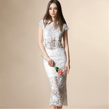2016 New Self Portrait Handmade White/Purple Sexy Flower Lace Dress Runway Elegant Dresses Hollow Out the Dress Two Piece Dress