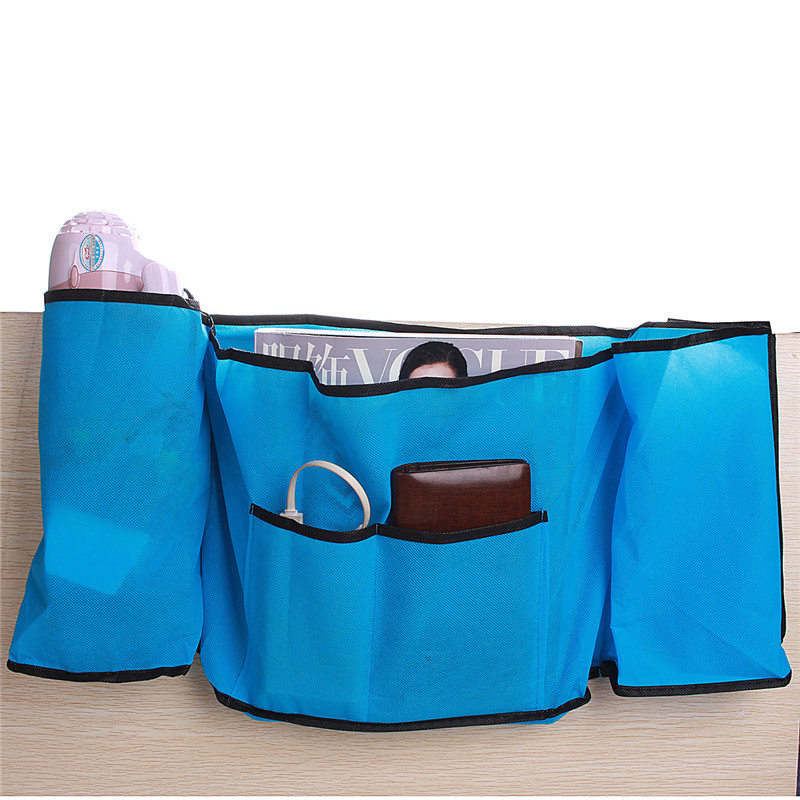 High Quality Non-woven Fabrics Bedside Caddy Bed Organizer Hanging Storage Bag Case Bins Home Phone Book TV Remote Holder(China (Mainland))