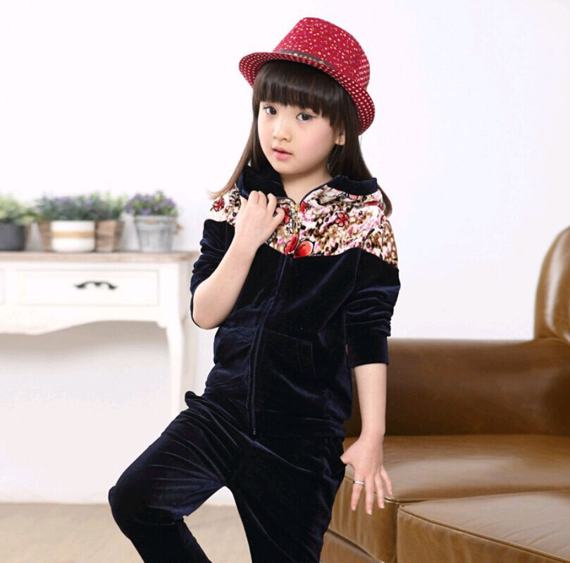 2015 rose blue girl sports suits 3 4 5 6 7 8 9 10 11 12 13 years old kids clothing good quality cotton fashion sports suit A629(China (Mainland))