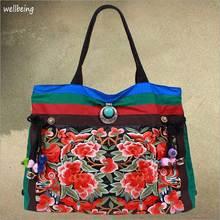 2016 NEW peony tassel canvas embroidered women bag, national characteristics single messenger bag women's fashion, crossbody bag