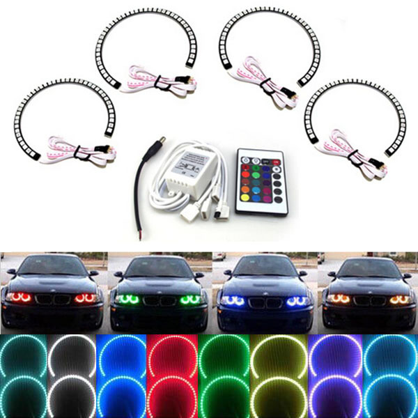 4X 131mm Wifi Controller Switch RGB Led Angel Eyes Ring for BMW E39 E46 E60 E92 E36 Diy Headlight Neon Colour Change Demon Devil(China (Mainland))