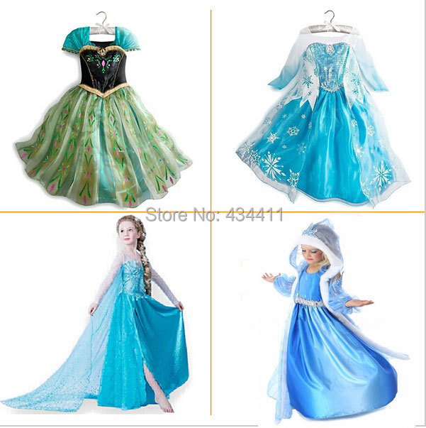 2015 New Girl Dress Girl's Princess Summer Snow Queen Diamond Dresses Baby Kids Clothes Costume Children Clothing free shipping