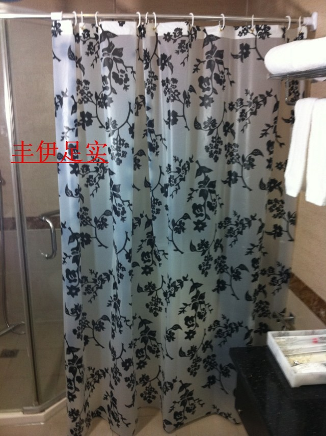 240 180cm High Quality Black Leaves Shower Curtains Thickening Waterproof Bathroom Curtain Cloth