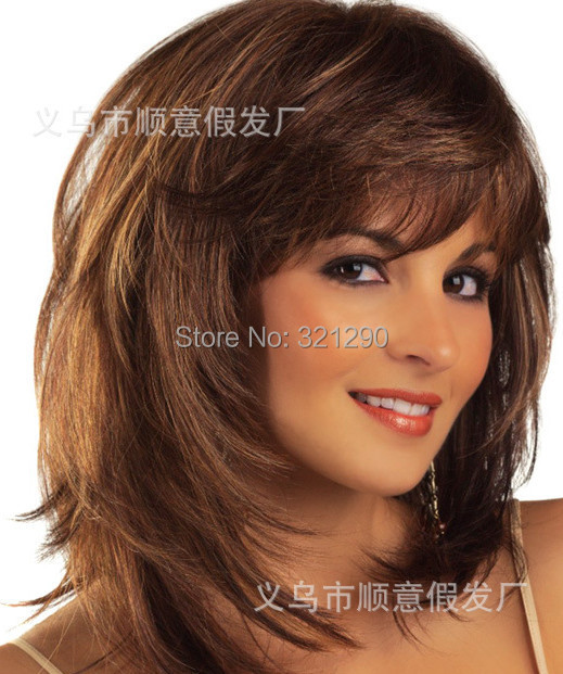 Гаджет  2015 Peluca Peruca Sexy Bob Synthetic hair wigs Medium Long Straight Brown Wig for women Full wig with Side bangs Free shipping None Волосы и аксессуары