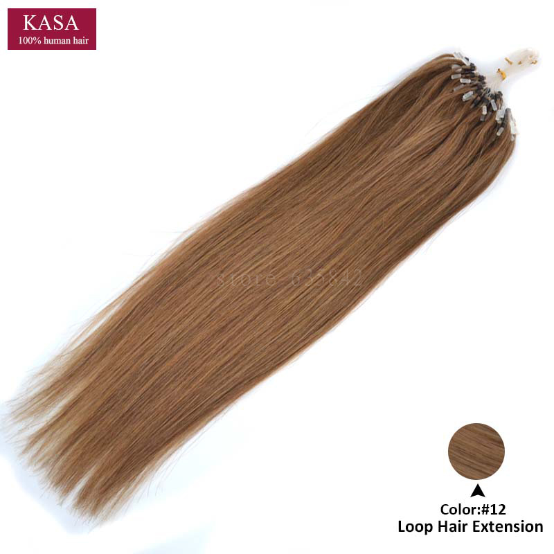 Micro Loop Ring Hair Extensions Straight 22 55cm 100g Brazilian Remy Human Natural Hair Hairpieces Black Brown Blonde 12Colors<br><br>Aliexpress