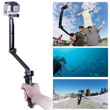 Gopro аксессуары 3 разъём(ов) Selfie монопод штатив 3-полосные складной держатель для Gopro герой 4 сессия 2 3 3 + Sj4000 спортивные камеры