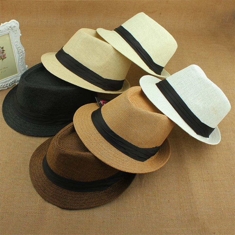 summer hat women 2016 beach straw panama sun hats for men,trendy unisex fedora trilby gangster cap jazz hats sun girl visor cap(China (Mainland))