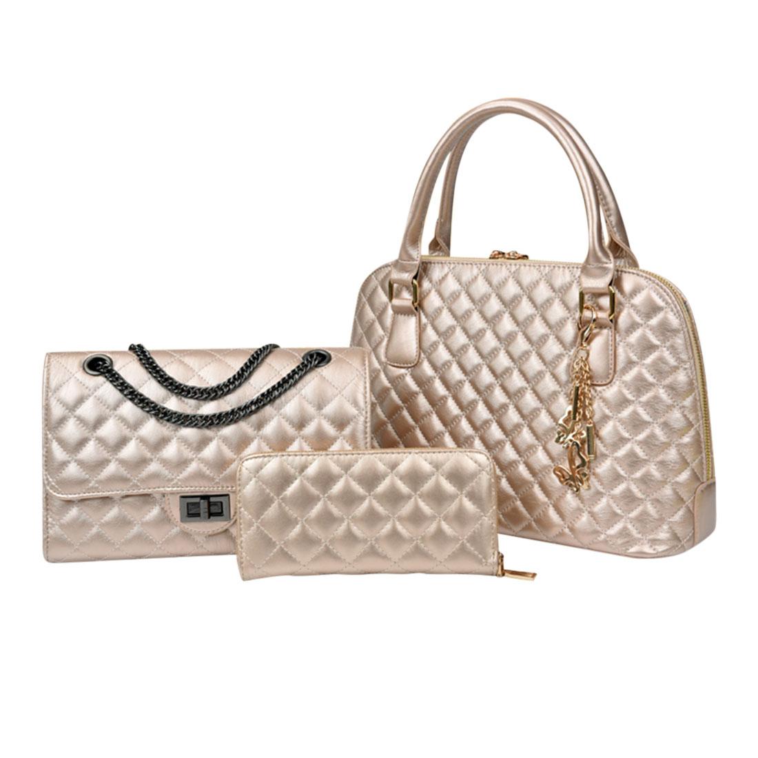 Luxury women Lady 3 Piece Quilting Lash Package Multiple Purse Chain shoulder Crossbody Bag Handbag(China (Mainland))