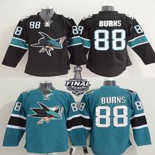 Men's Brent Burns Jersey San Jose Sharks #88 Brent Burns Home Black Green Stitched Embroidery Logo Ice Hockey Jerseys(China (Mainland))