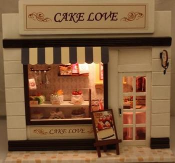 Miniature handmade model series cake,Wooden house model, Diy doll house  English instruction