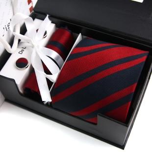New year gift rhodic stripe male business formal married silk tie cufflinks squareinto gift box set