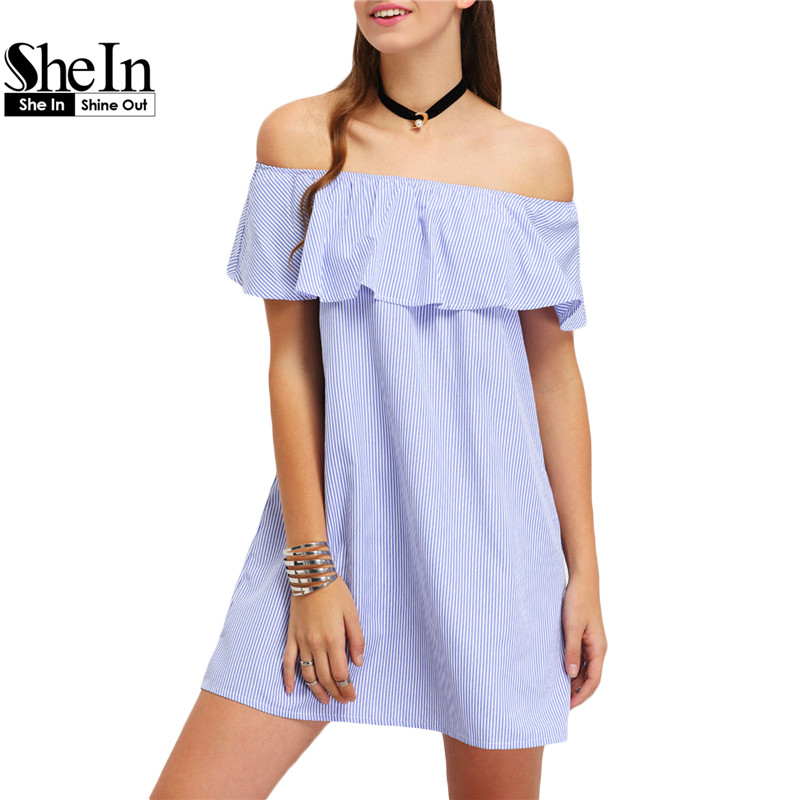 SheIn Womens Blue Vertical Striped Ruffled Off-The-Shoulder Dresses Women Summer Beach Short Sleeve Straight Dress(China (Mainland))