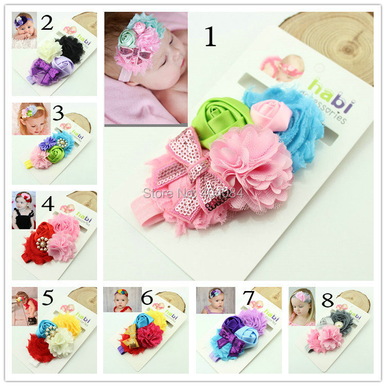 Latest Baby Girl's Flower Headband Headwear Girls Floral Topknot Hairbands Infant Headband 10pcs/lot(China (Mainland))