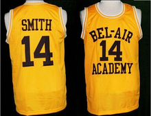 Frais Prince jersey, 14 Will Smith Basketball jersey, Carlton banques 25 Bel Air académie Jersey Double couture jaune S à 3XL(China (Mainland))