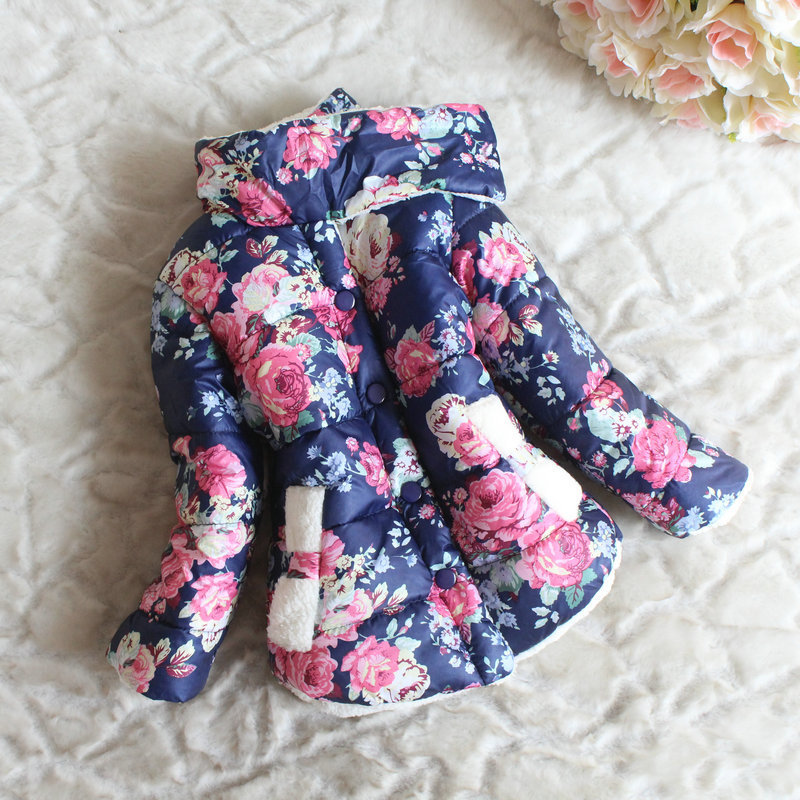 CS033 Free Shipping 2014 Childrens Girls Winter Flower Coats And Jackets Thicker Section Kids Outerwear Retail And Wholesale(China (Mainland))