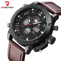Luxury Brand CHEETAH Watches Men Genuine Leather Band Digital LED Wristwatch Army Military Quartz Sport Watch Relogio Masculino