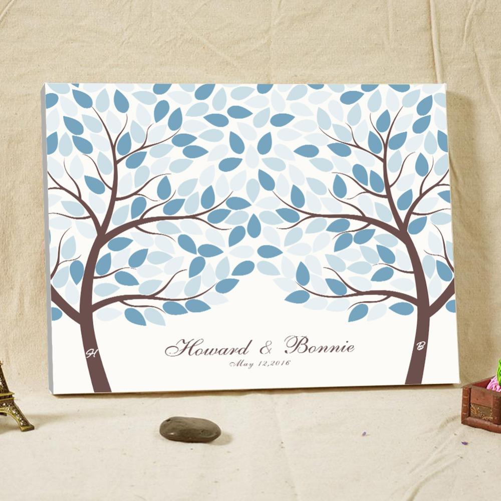 custom name signature guestbook tree fingerprint wood frame wedding guest book alternative blue wedding decorations casamento