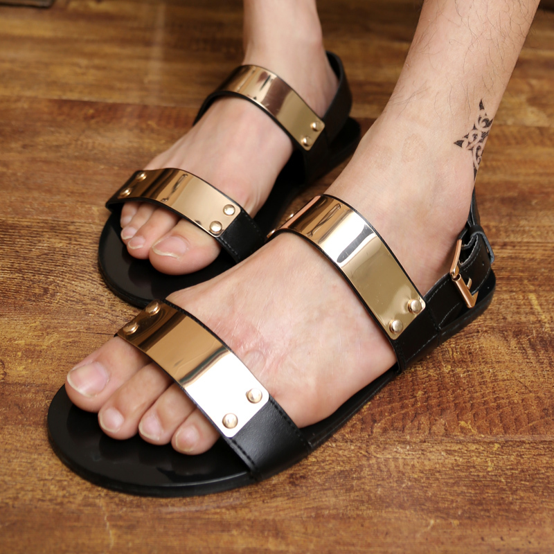 2015 fashion brand men's casual party sandals sequined upper leather flats leisure slippers designer star slides man free ship(China (Mainland))