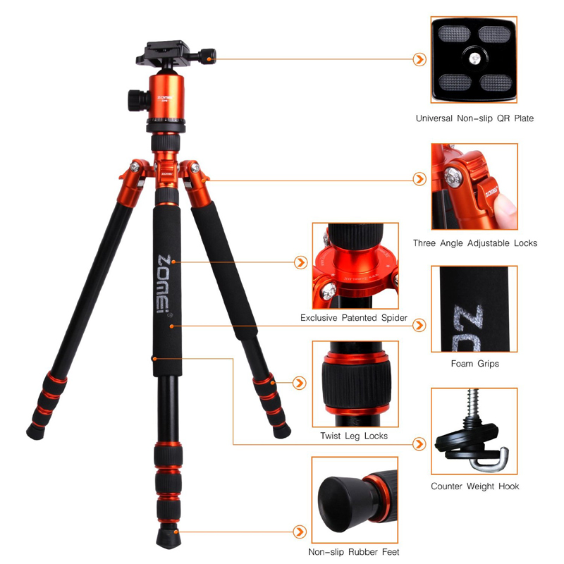 ZoMei Z818 66.3 Inch Flexible Tripod Lightweight Aluminium Camera Tripod Stand for Canon Sony Nikon Panasonic Olympus Camera(China (Mainland))