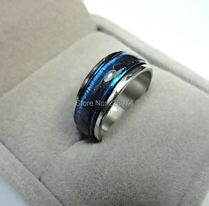 2015 HOT New Fashion Jewelry top Blue Cat-eye Enamel men women Rotation Stainless steel Ring mens rings LR221(China (Mainland))