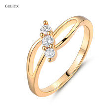 Buy GULICX Vintage Rings Women Gold-color Finger Ring Round White Crystal Cubic Zirconia Engagement Ring Women Jewerly R029 for $1.47 in AliExpress store