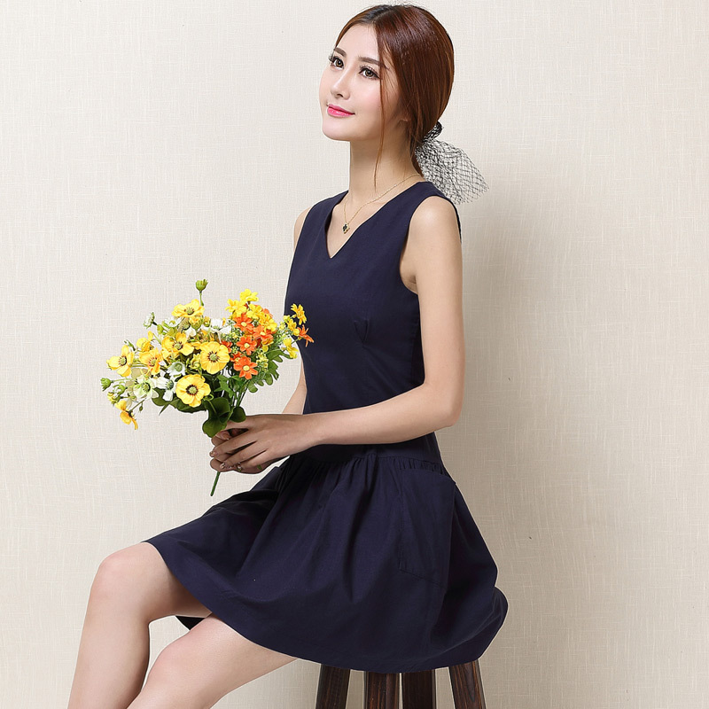 Will the new spring and summer 2015 cotton dress Korean slim sleeveless dress linen factory wholesale(China (Mainland))