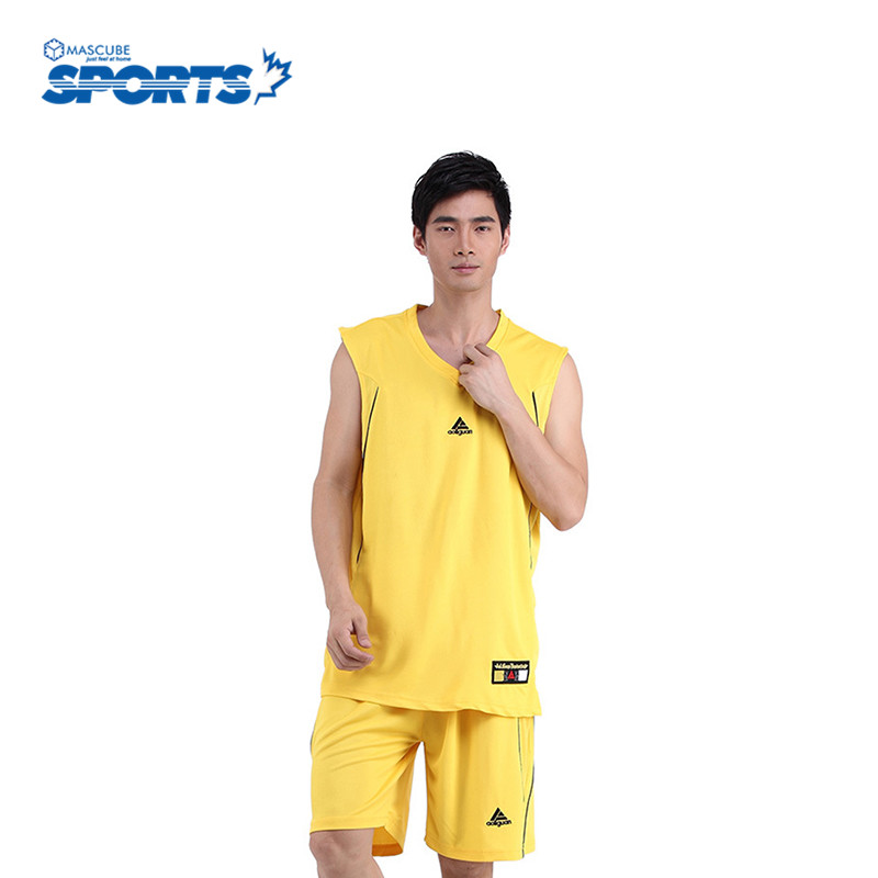 Hot Selling Basketball Training Suit Summer Style Solid Color Customized V Collar Sleeveless Men's Sport Jerseys(China (Mainland))